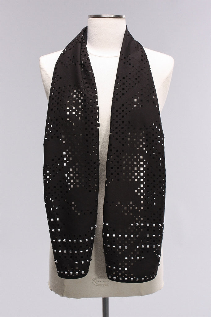 Cut Out Scarf with Silver Beads in Blk/Silv C-NL1731 - BLK/SIL