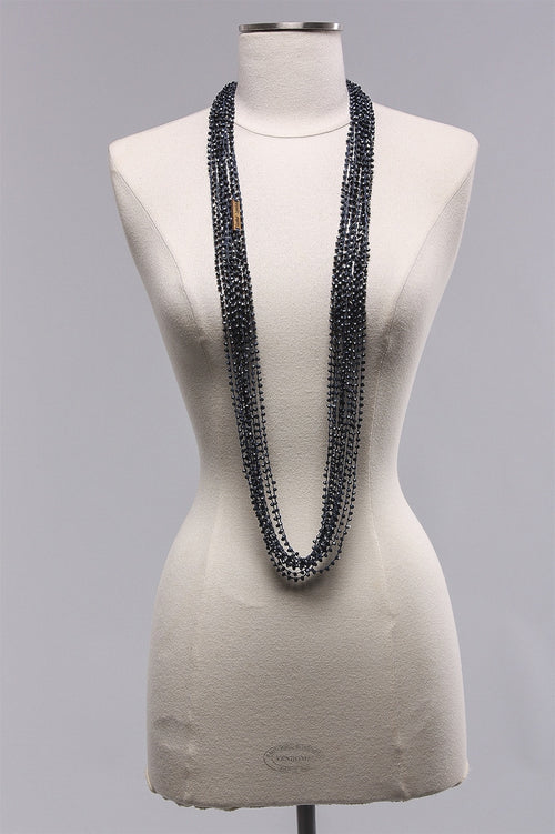 10 Strand 3x4 Crystal Necklace in Navy C-NL1614-5  - NAVY