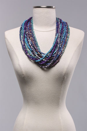 7 Strand HP Mix Necklace in Turq/Purple C-NL1094-MIX - TURQPURP