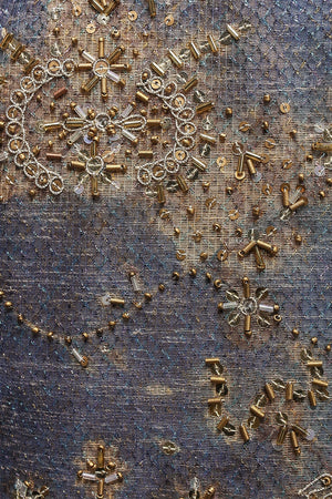 Hand Beaded Fabric in Blue/Bronze