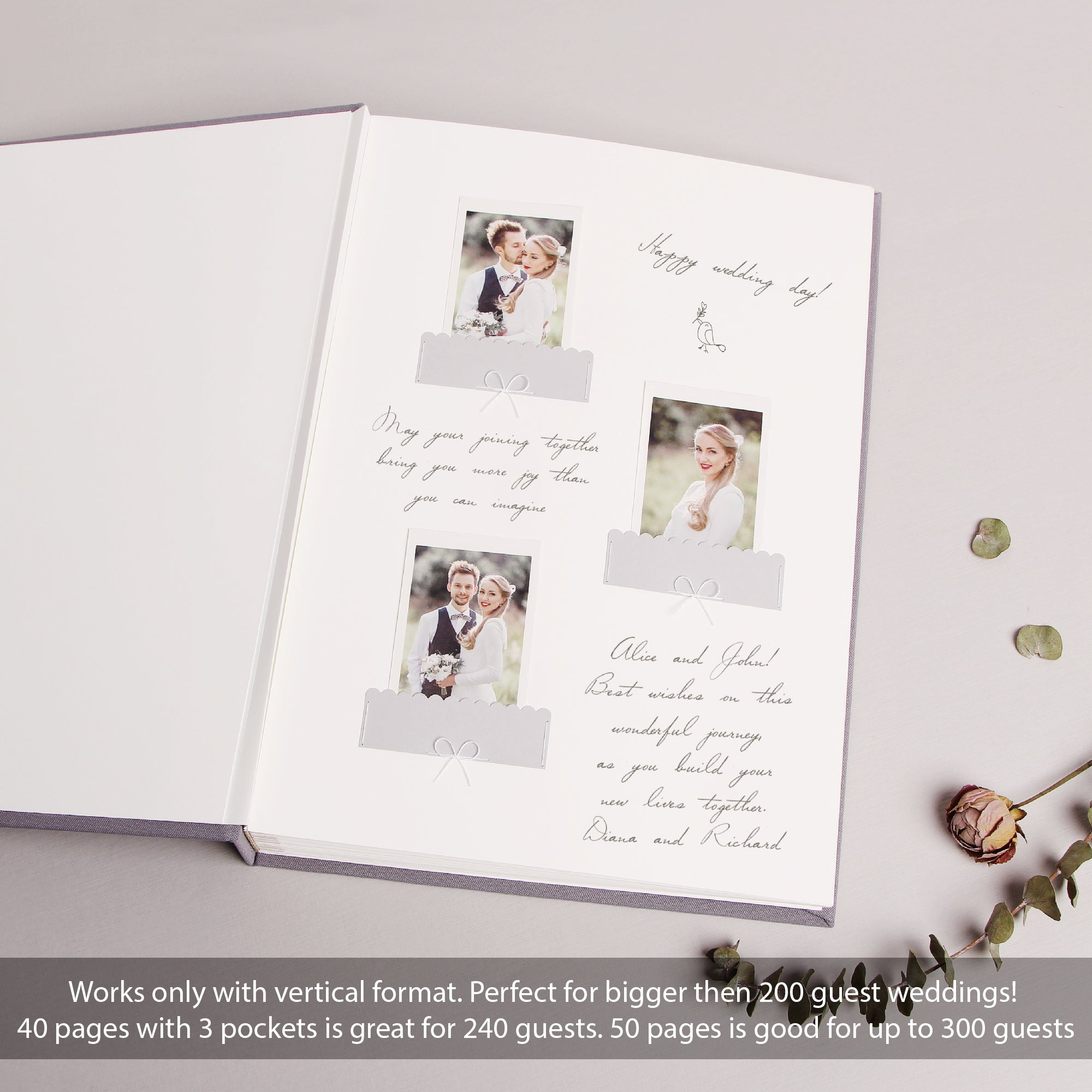 Classic Gray Wedding Guest Book With Gold Lettering, Instax picture album, Birthday Album - by Liumy