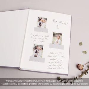 Black Instax Photo Guestbook White velour Lettering Calligraphy, Personalized Wedding Album - by Liumy - Liumy