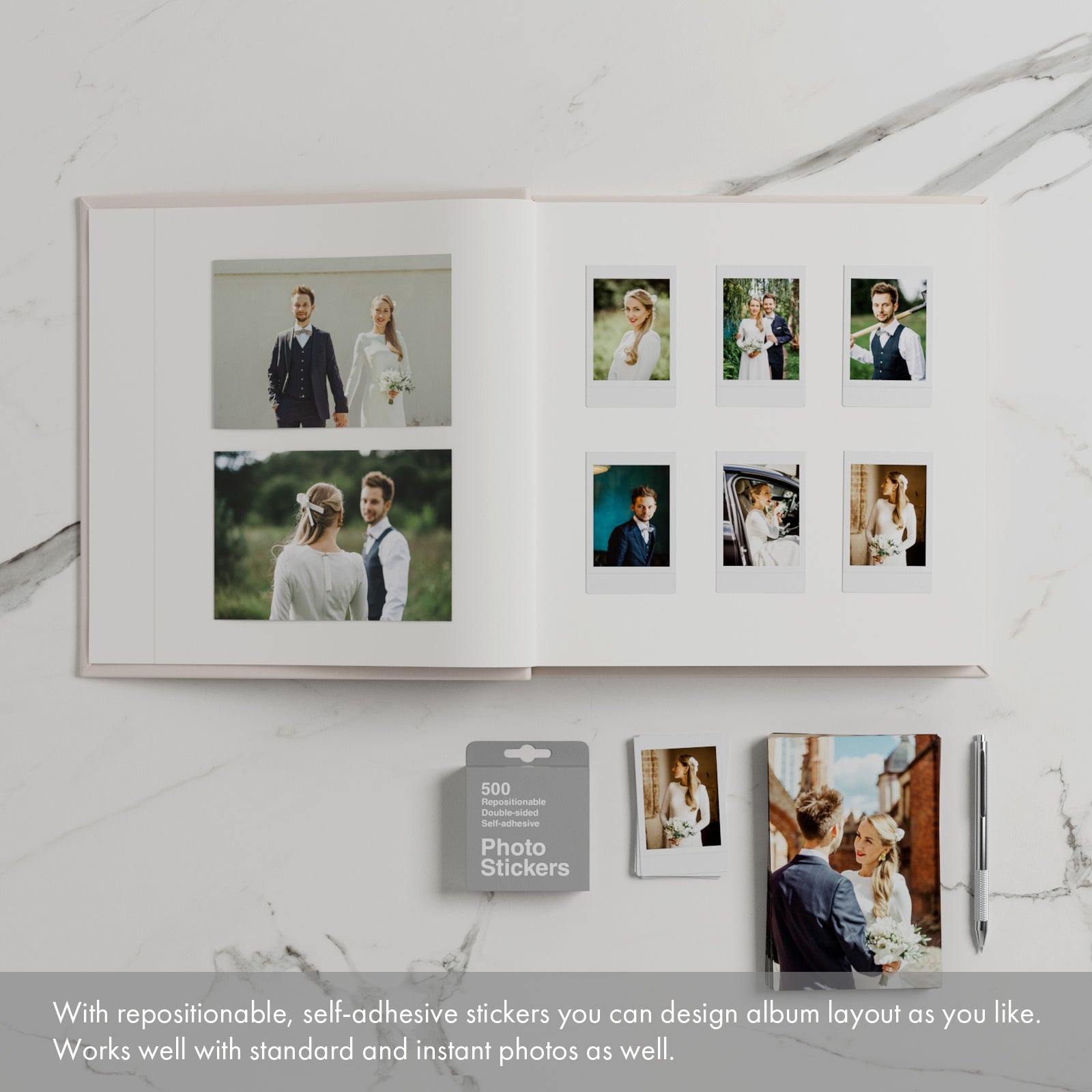 Wedding Guest Book Album Ivory with White Lettering - Empty pages - Liumy