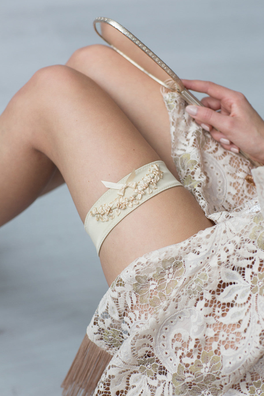 Wedding Bridal Garter Gold Embroidery Flowers by Liumy