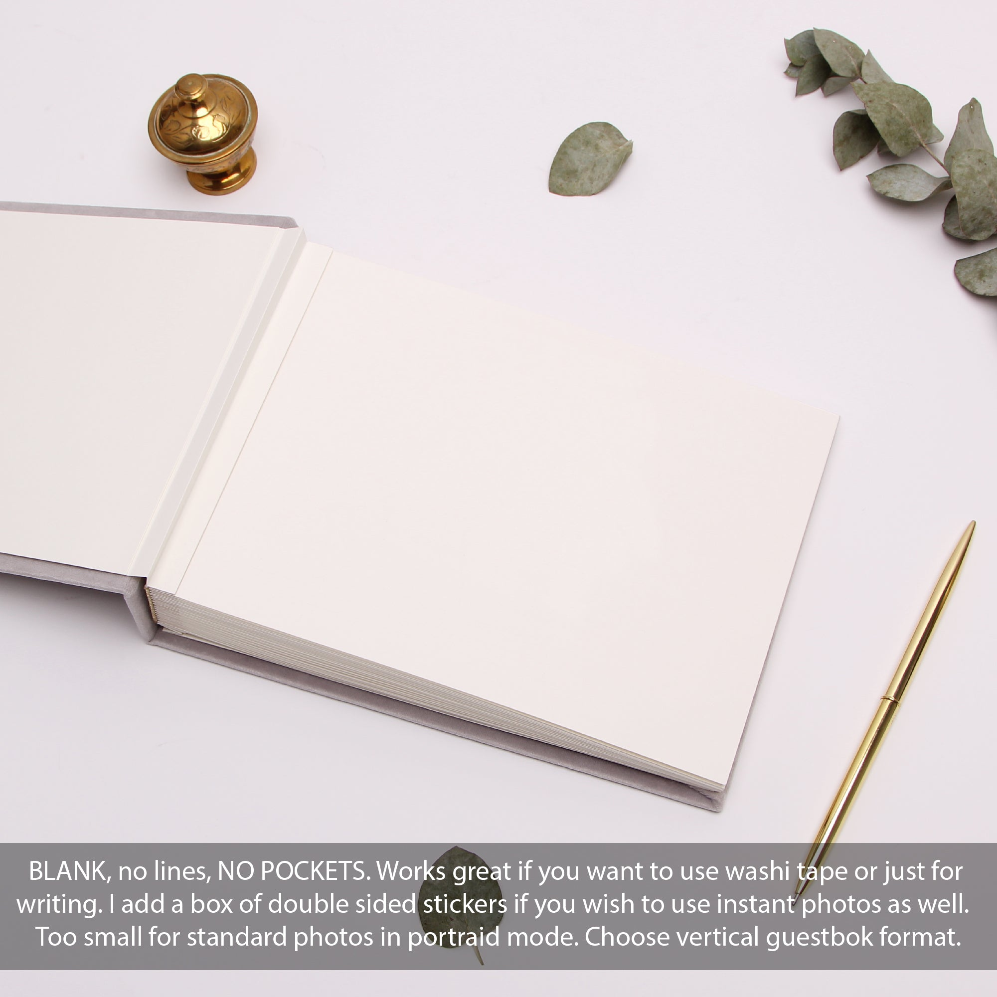 Classic Wedding Guest Book White With Real Silver Lettering, Instax picture album, Birthday Album - by Liumy