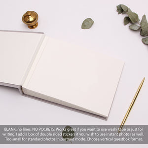 Classic Wedding Guest Book White With Real Silver Lettering, Instax picture album, Birthday Album - by Liumy - Liumy