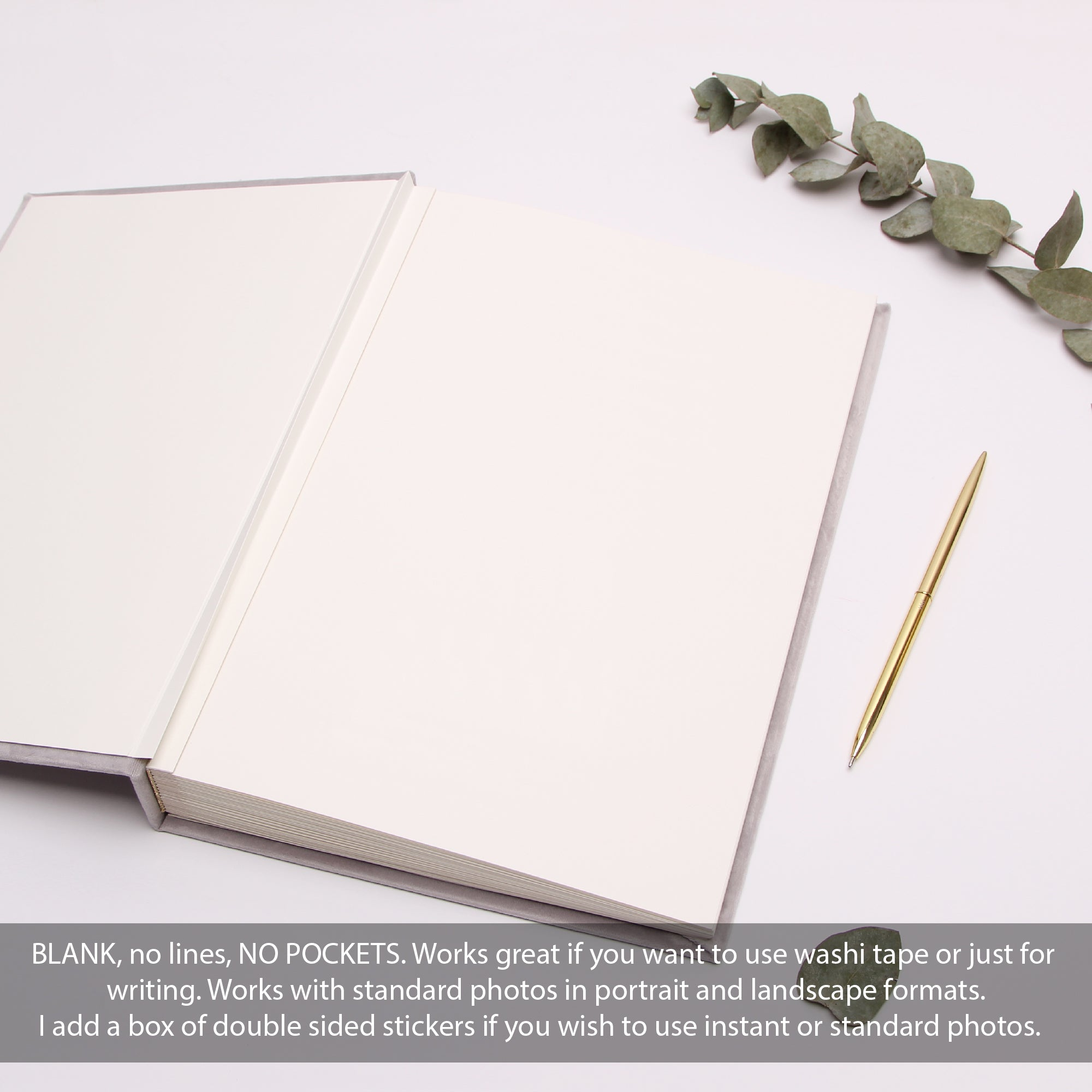 Wedding Guestbook Light Gray Velour, Real Gold Foil Album With Lettering, Instax photo album - Liumy