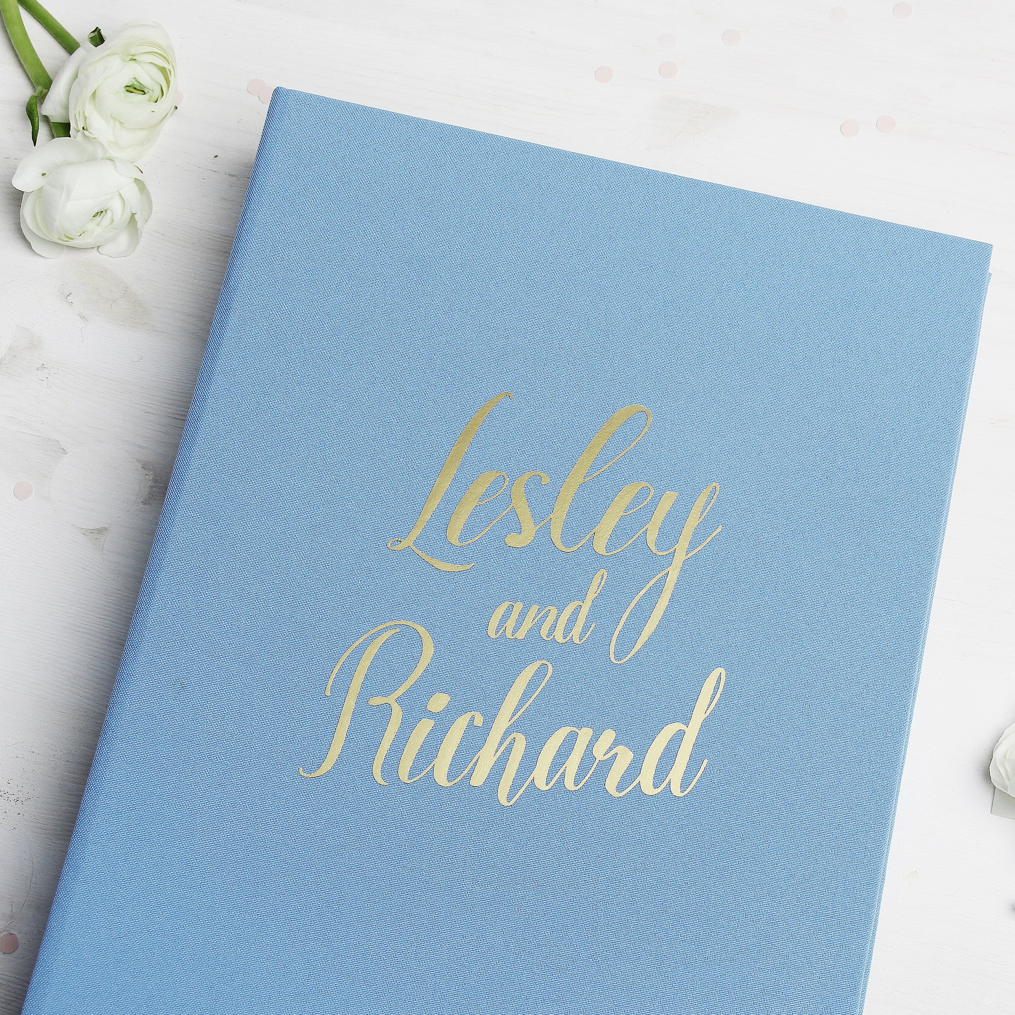 Sky Blue Instax Guestbook Gold Foil Lettering Blue Wedding Reception Decor - Liumy