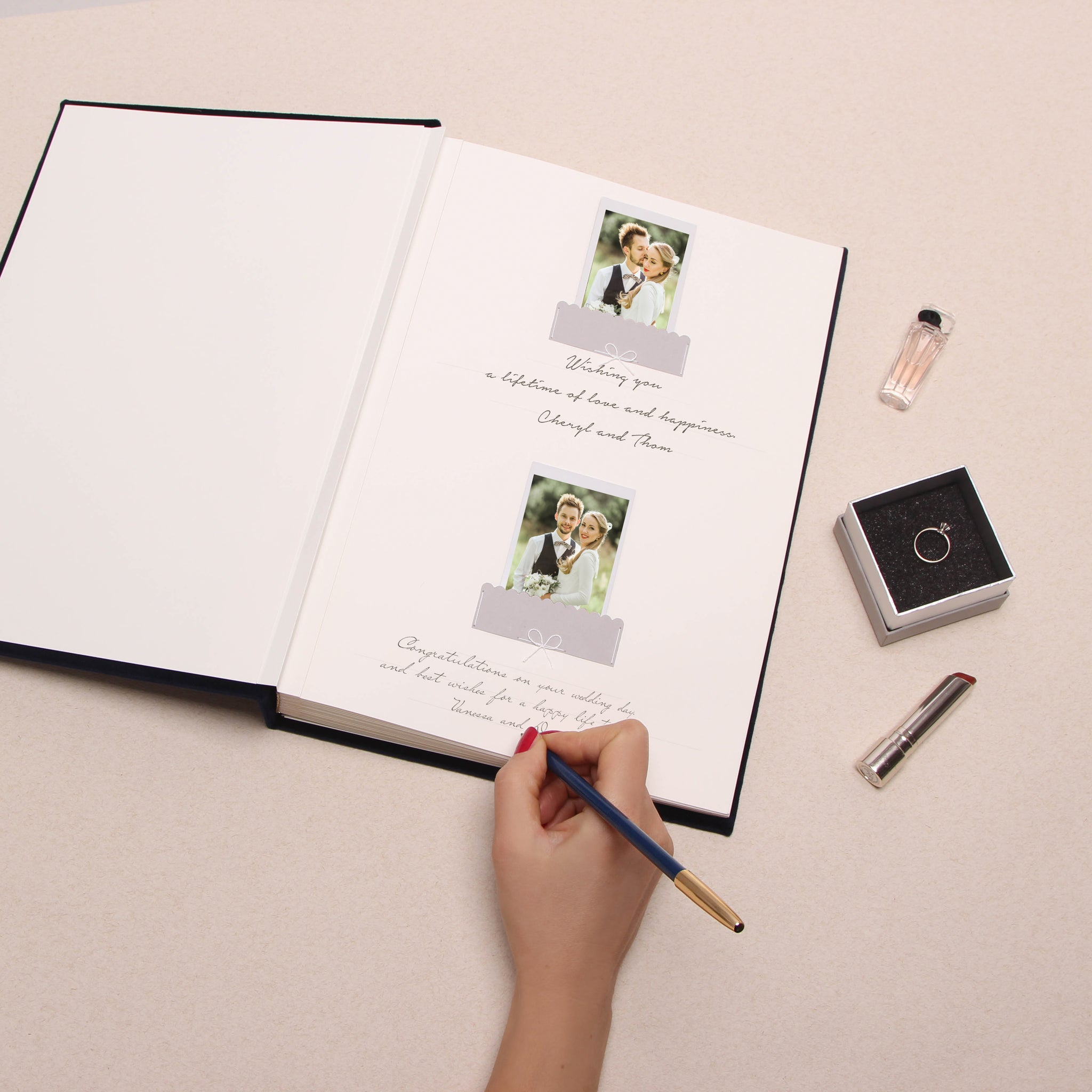 Alternative Wedding Guestbook Navy Blue Velour Album With Real Gold Lettering, Instax photo album, Birthday Album - by Liumy - Liumy