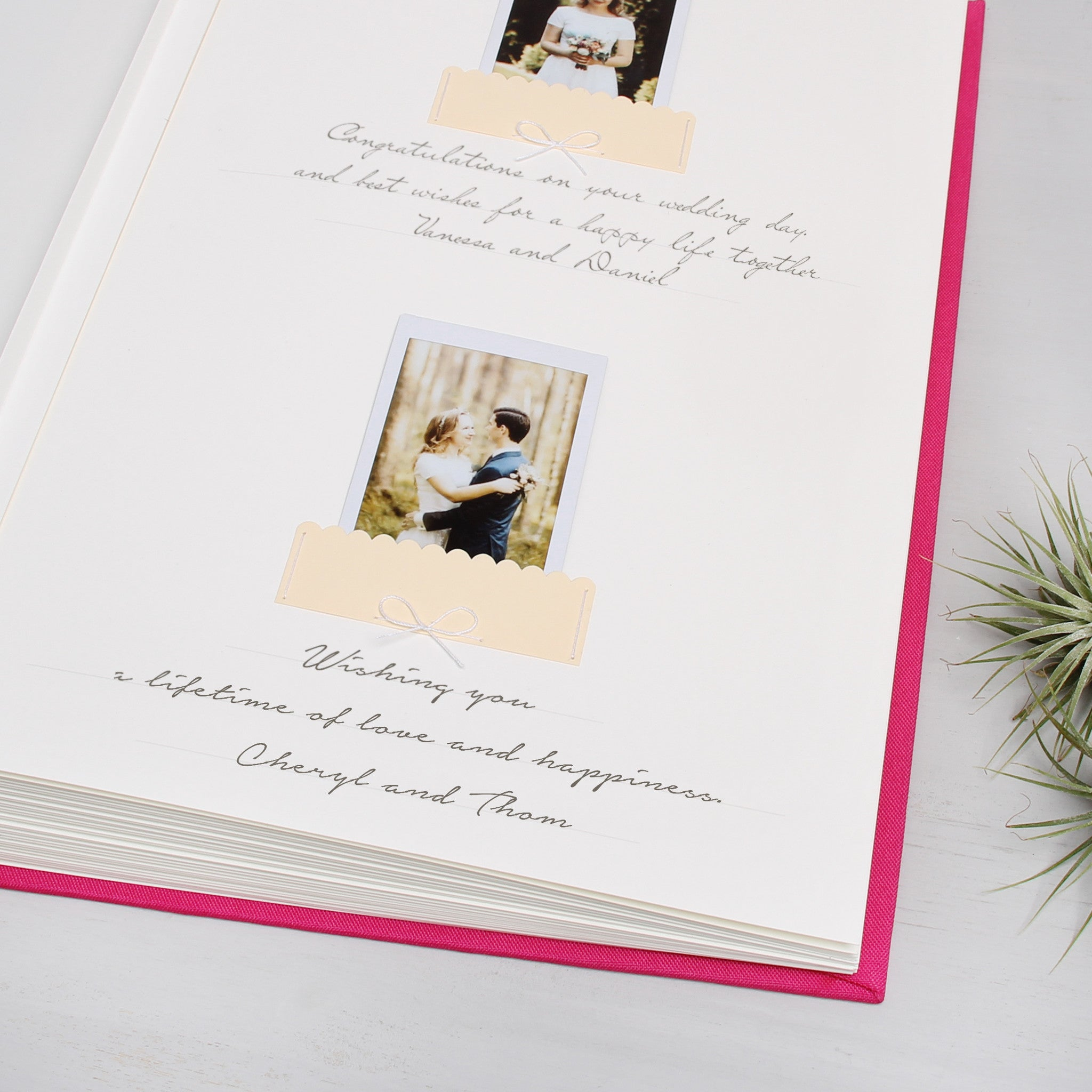 Guest Book Sign in Book Instant Album Magneta with Silver Glitter Lettering, Birthday Album by Liumy - Liumy