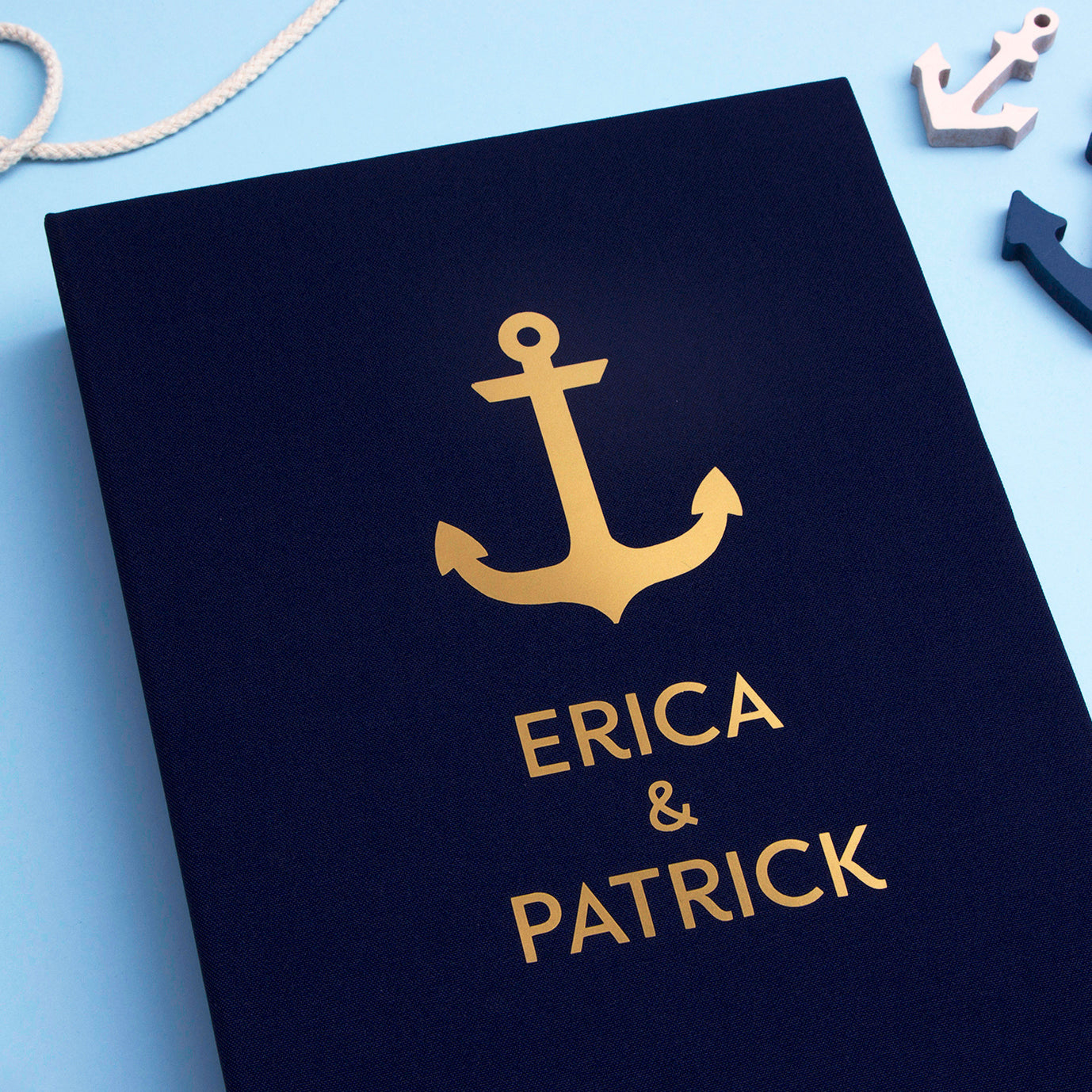 Navy Blue Anchor Wedding Guest Book Nautical with Gold Foil Lettering - by Liumy - Liumy