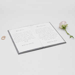 Personalised Wedding Vow Books White Velour Gray Keepsake Calligraphy Vows Bride and Groom Ceremony - Liumy