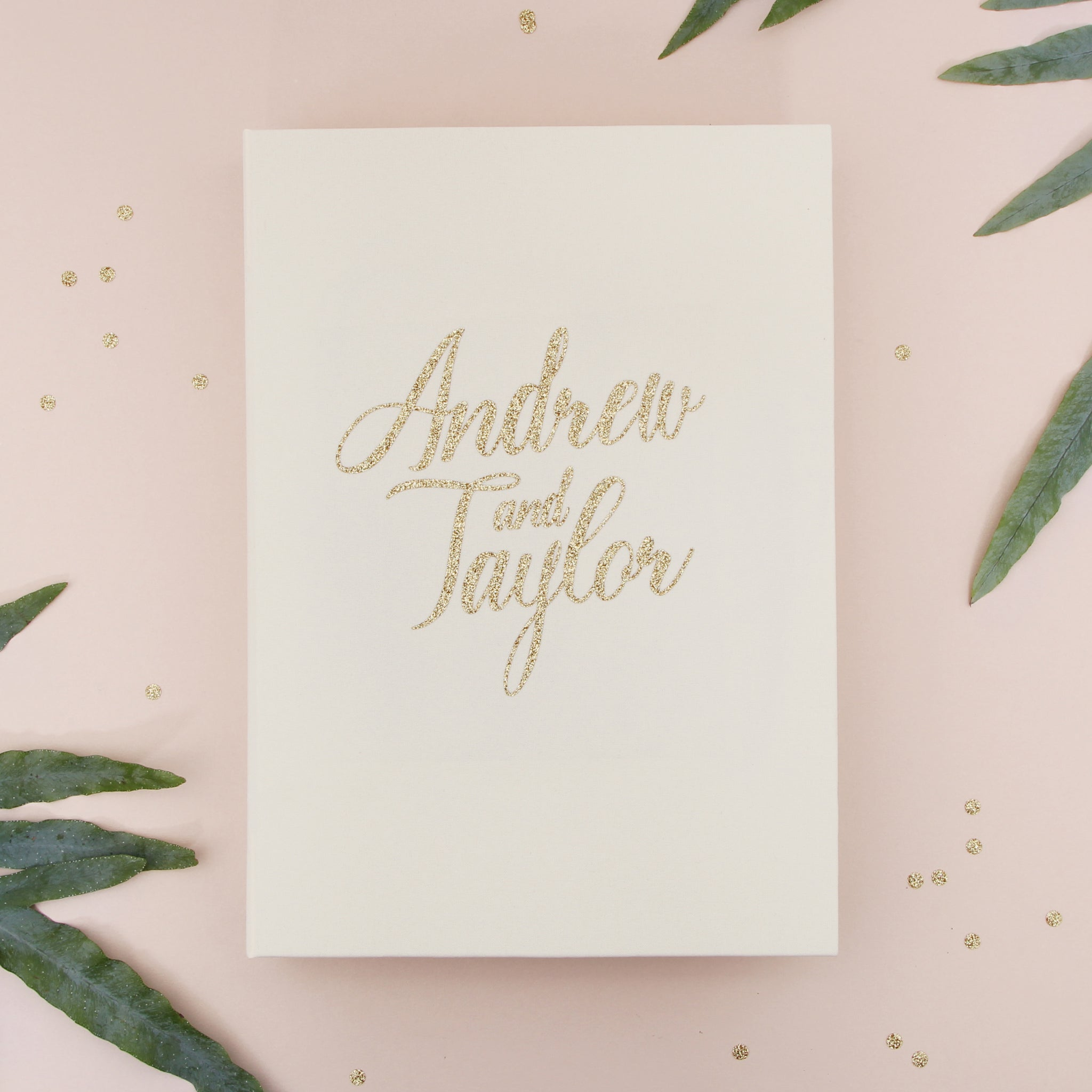 Instant Wedding Album Ivory Guest Book with Gold Glitter Lettering Instax Photo album