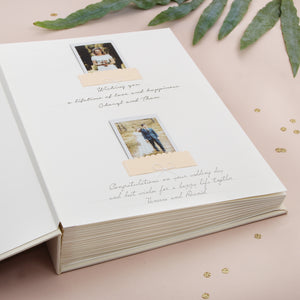 Guest Book Sign in Book Instant Album Ivory with Gold Glitter Lettering - by Liumy - Liumy