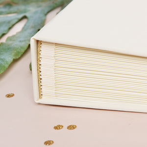 Instant Wedding Album Ivory Guest Book with Gold Glitter Lettering Instax Photo album - Liumy