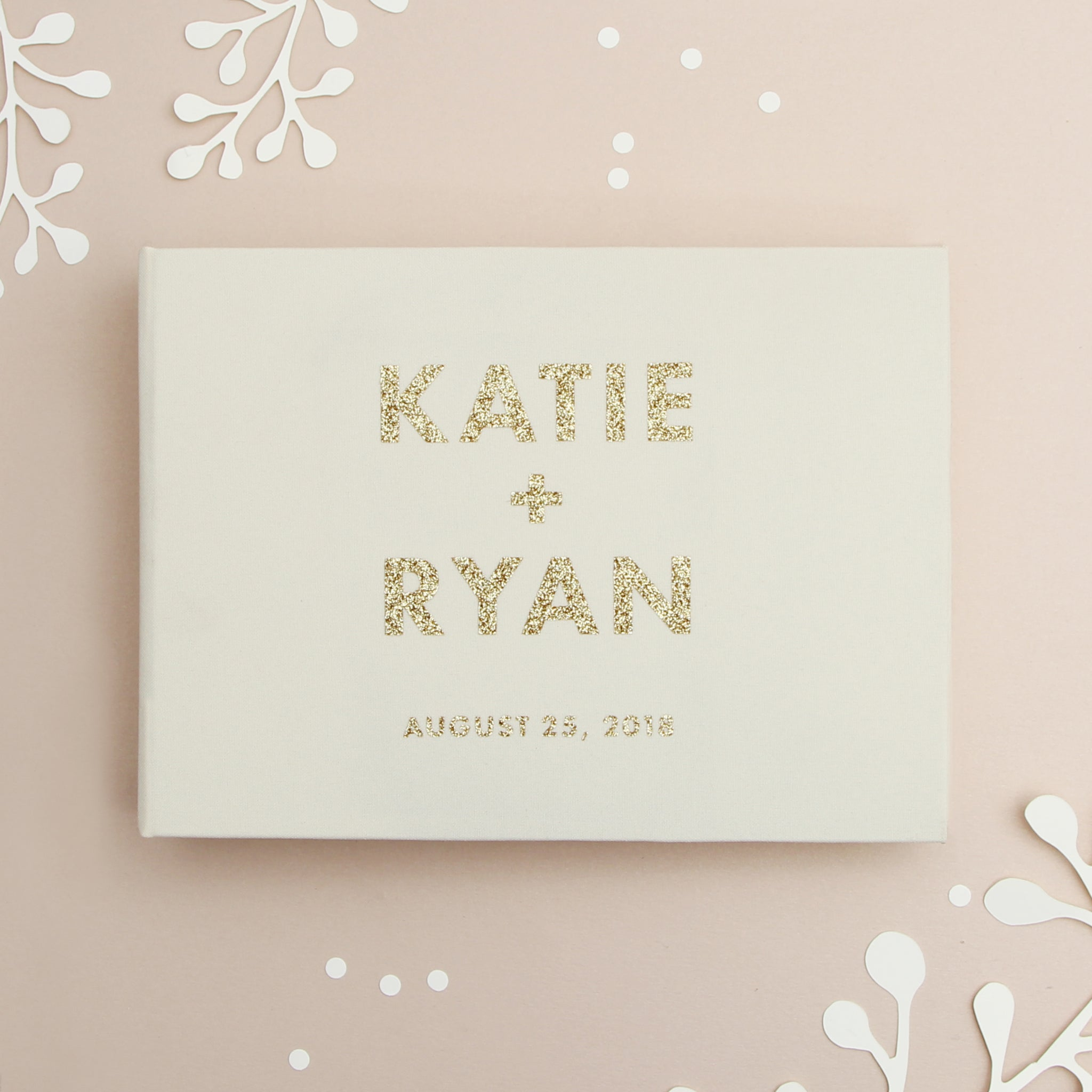 Instant Wedding Album Ivory Guest Book with Gold Glitter BOLD Lettering Instax Photo album - Liumy