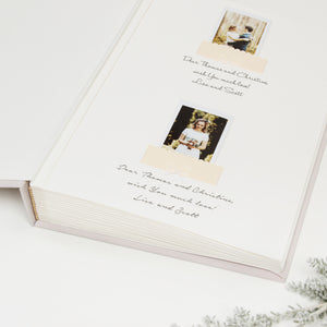 Photo Wedding Guest Book Album Cream Ribbon with Personalised first Page by Liumy - Liumy