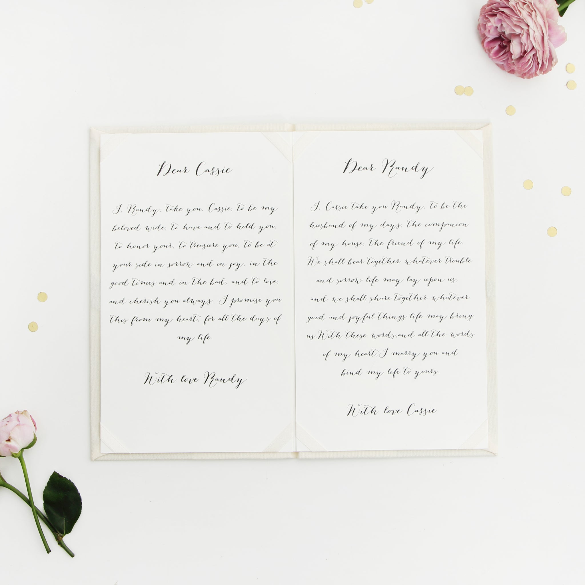 Personalised Wedding Ivory Vow Books Gold Foil Keepsake Calligraphy Vows Bride and Groom Ceremony