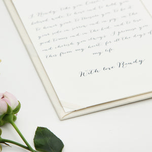 Personalised Wedding Ivory Vow Books Gold Foil Keepsake Calligraphy Vows Bride and Groom Ceremony - Liumy