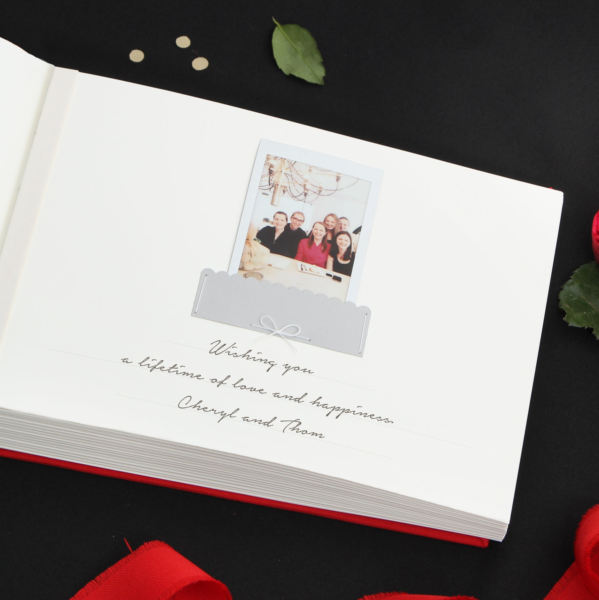 Red with Black Embossed Lettering, Instax picture album - by Liumy - Liumy