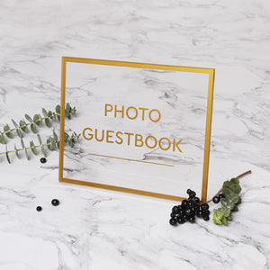 Acrylic Wedding Sign Guest book Glass Sign Transperant Photo Book Gold Foil Sign - by Liumy - Liumy