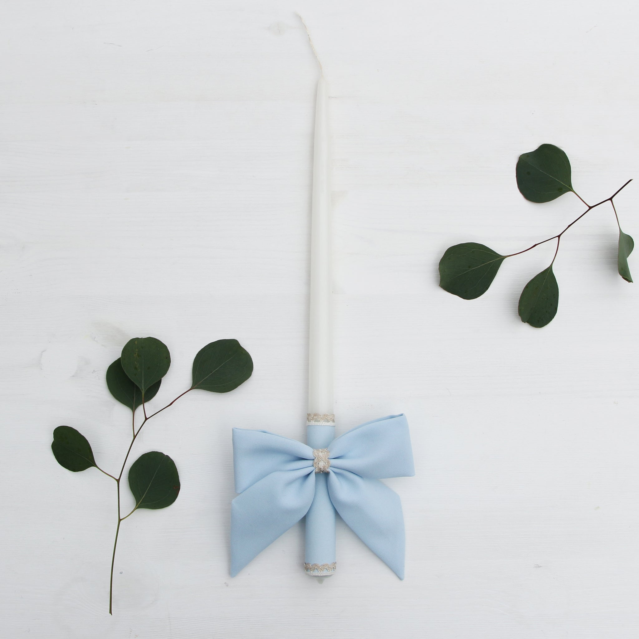 Candle Decoration Baptism Candle Deco Communion Decoration Light Blue Color, Christening Confirmation - Liumy