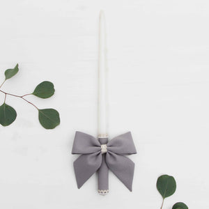 Candle Decoration Baptism Candle Deco Communion Decoration Gray Color, Christening Confirmation - Liumy