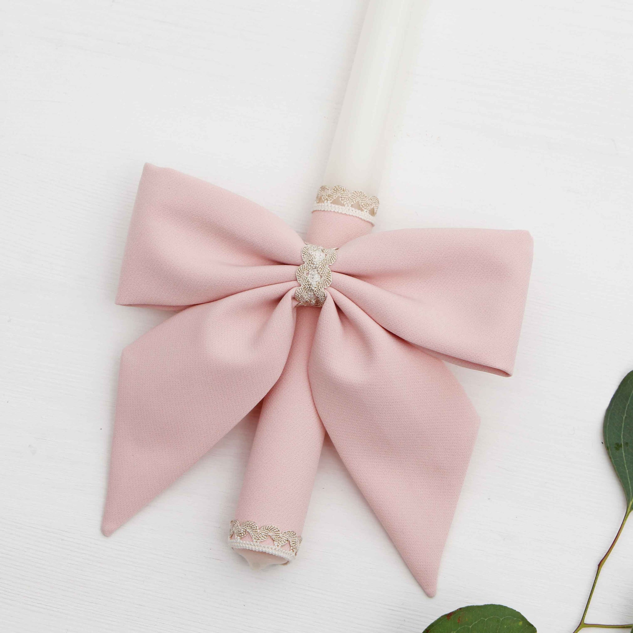 Candle Decoration Baptism Candle Deco Communion Decoration Pink Color, Christening Confirmation - Liumy