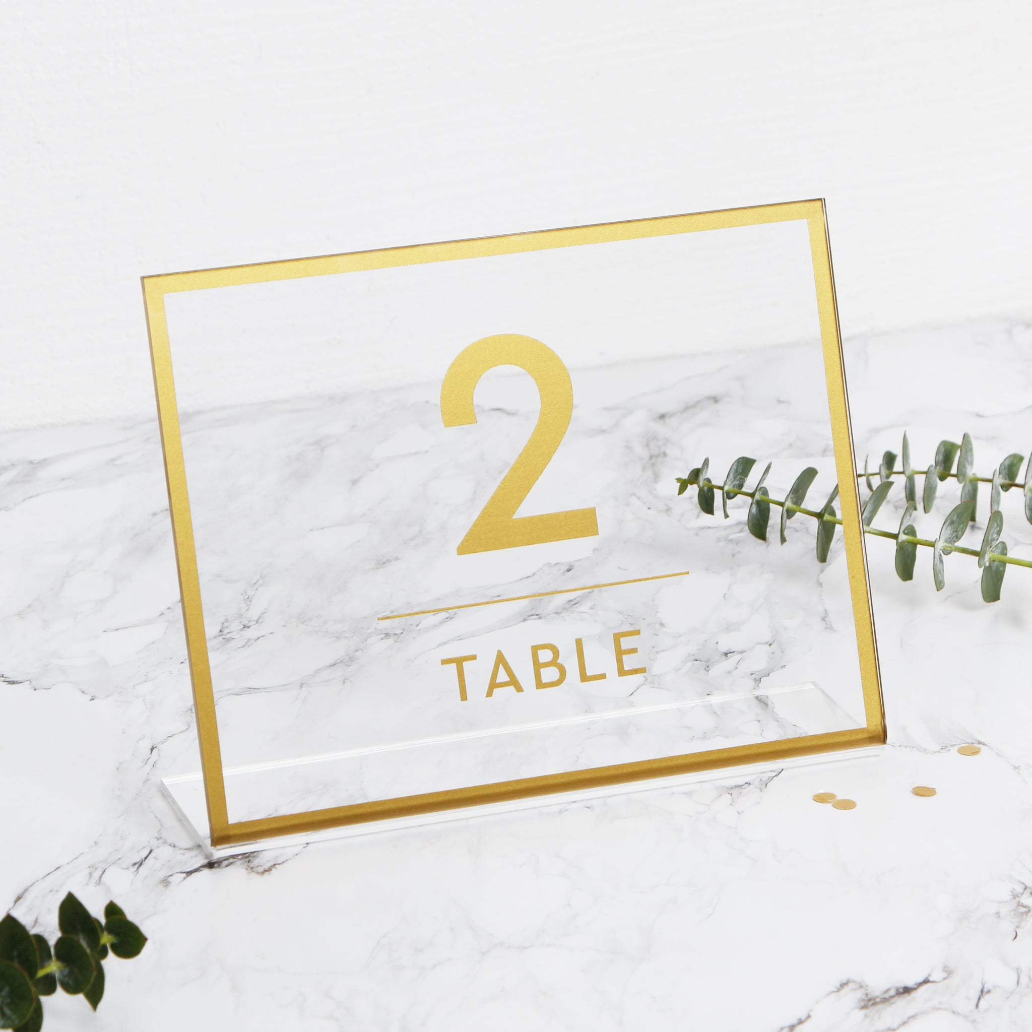 Acrylic Wedding Glass Sign For Table Numbers - Transperant Photo Book Gold Foil Sign - by Liumy - Liumy
