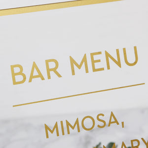 Big Gold Foil Sign For Bar Menu- Acrylic Wedding Sign - Guest book Glass Sign - Transperant Photo Guestbook Sign - by Liumy - Liumy