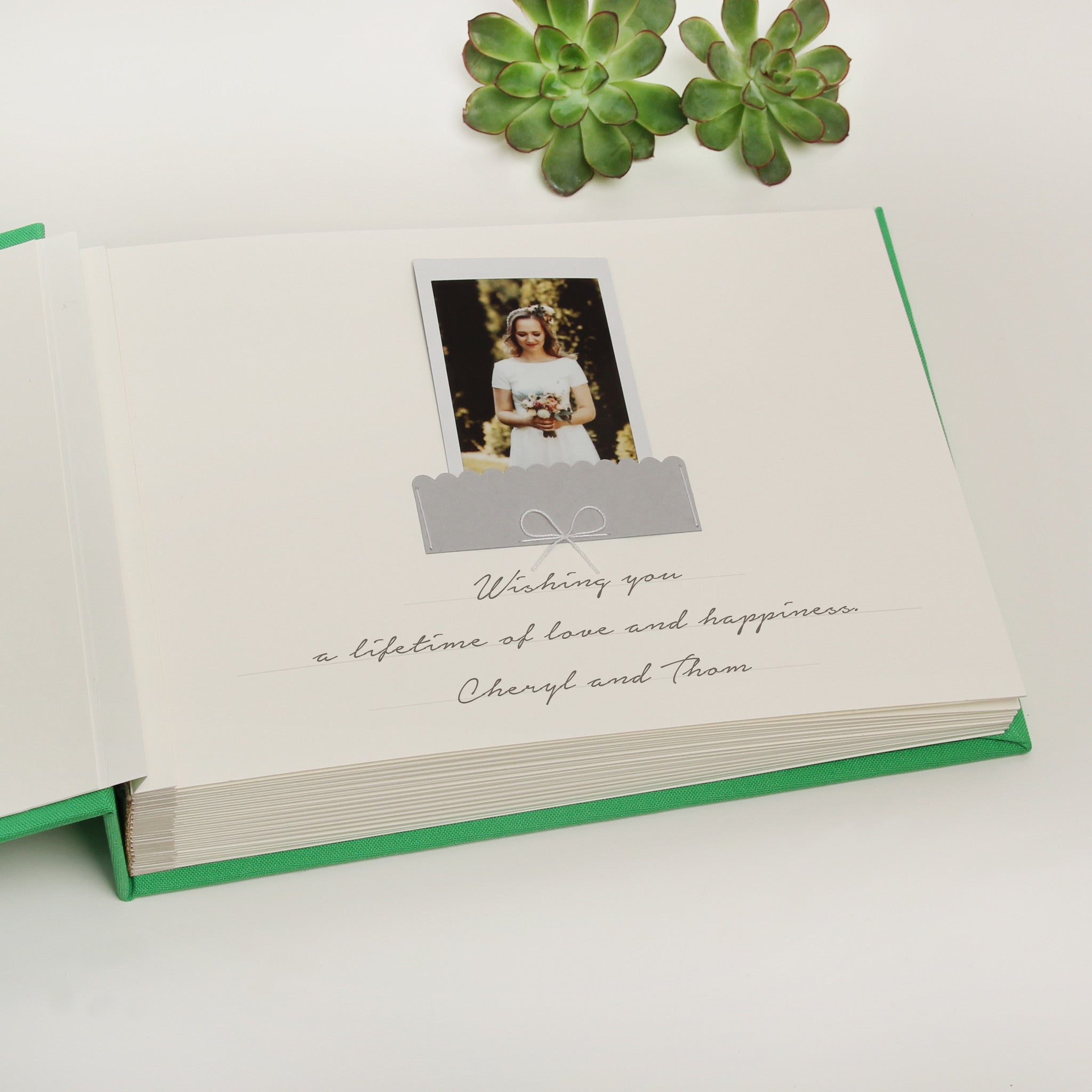 Green Instax guest book Photo Wedding GuestBook Greenery with Gold Foil Lettering Pocket Wedding Album - by Liumy