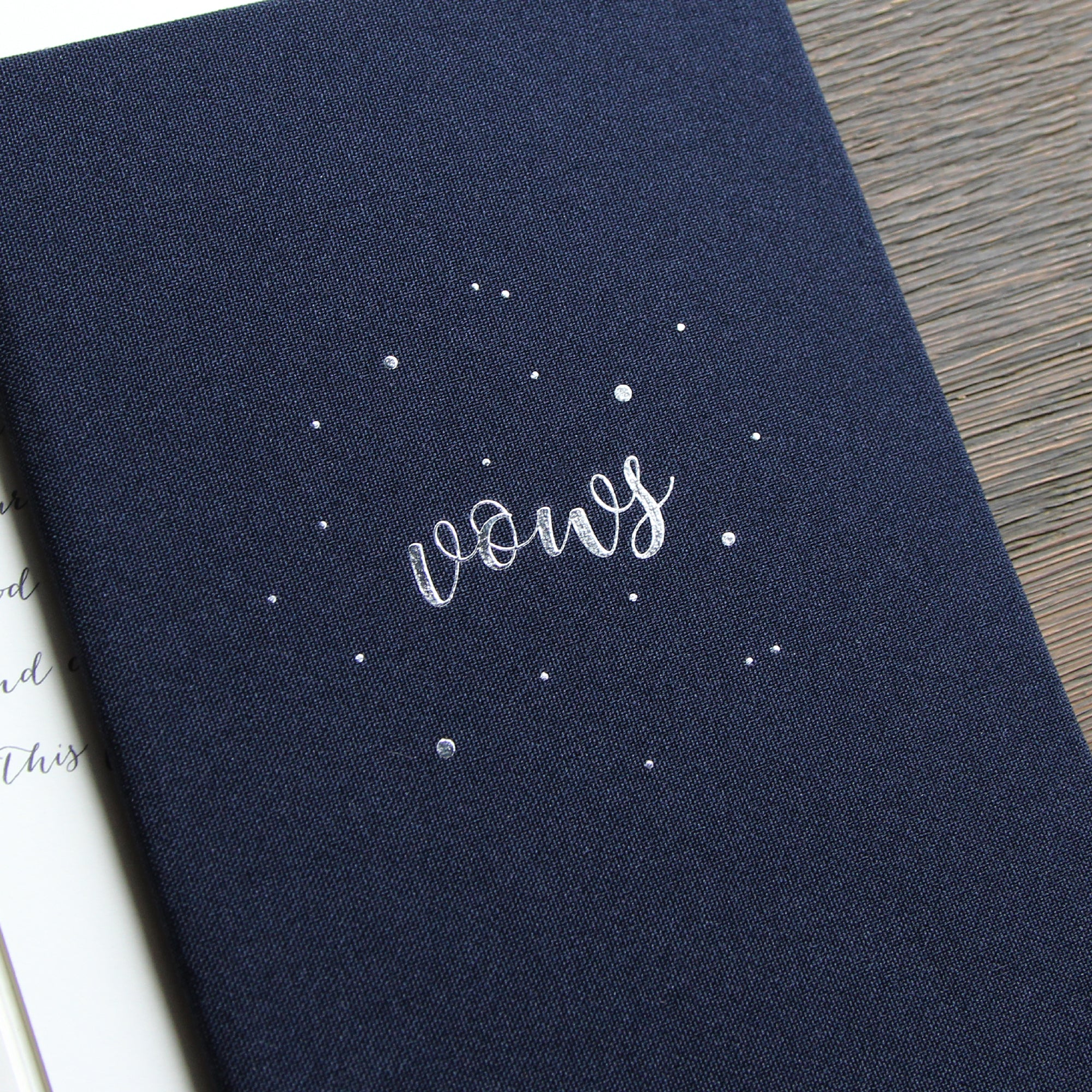 Personalised Wedding Vow Books Silver Lettering Circle dots Navy Blue Keepsake Calligraphy Vows Bride and Groom Ceremony - Liumy