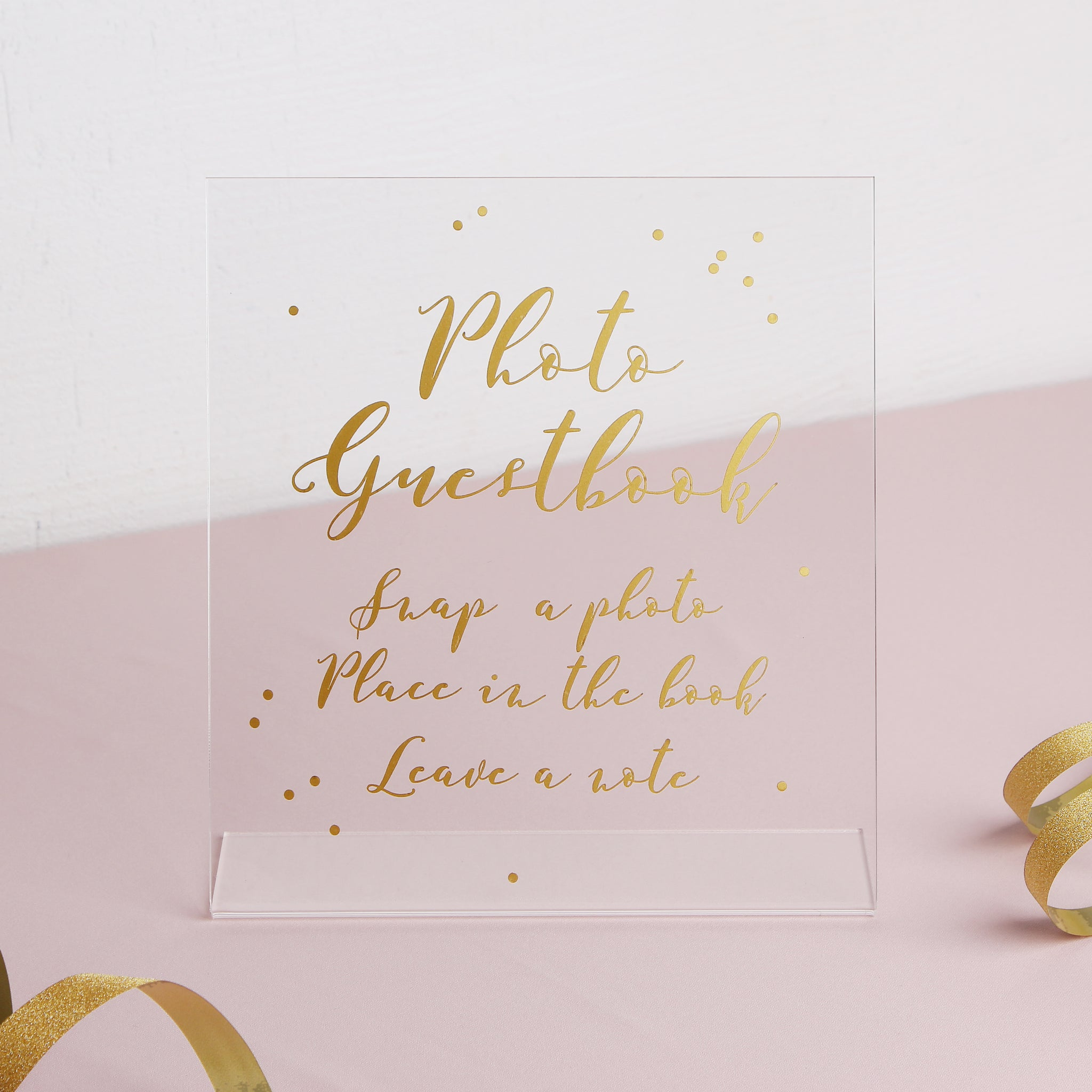 Big Cursative Gold Foil Sign - Acrylic Wedding Sign - Guest book Glass Sign - Transperant Photo Guestbook Sign - Liumy