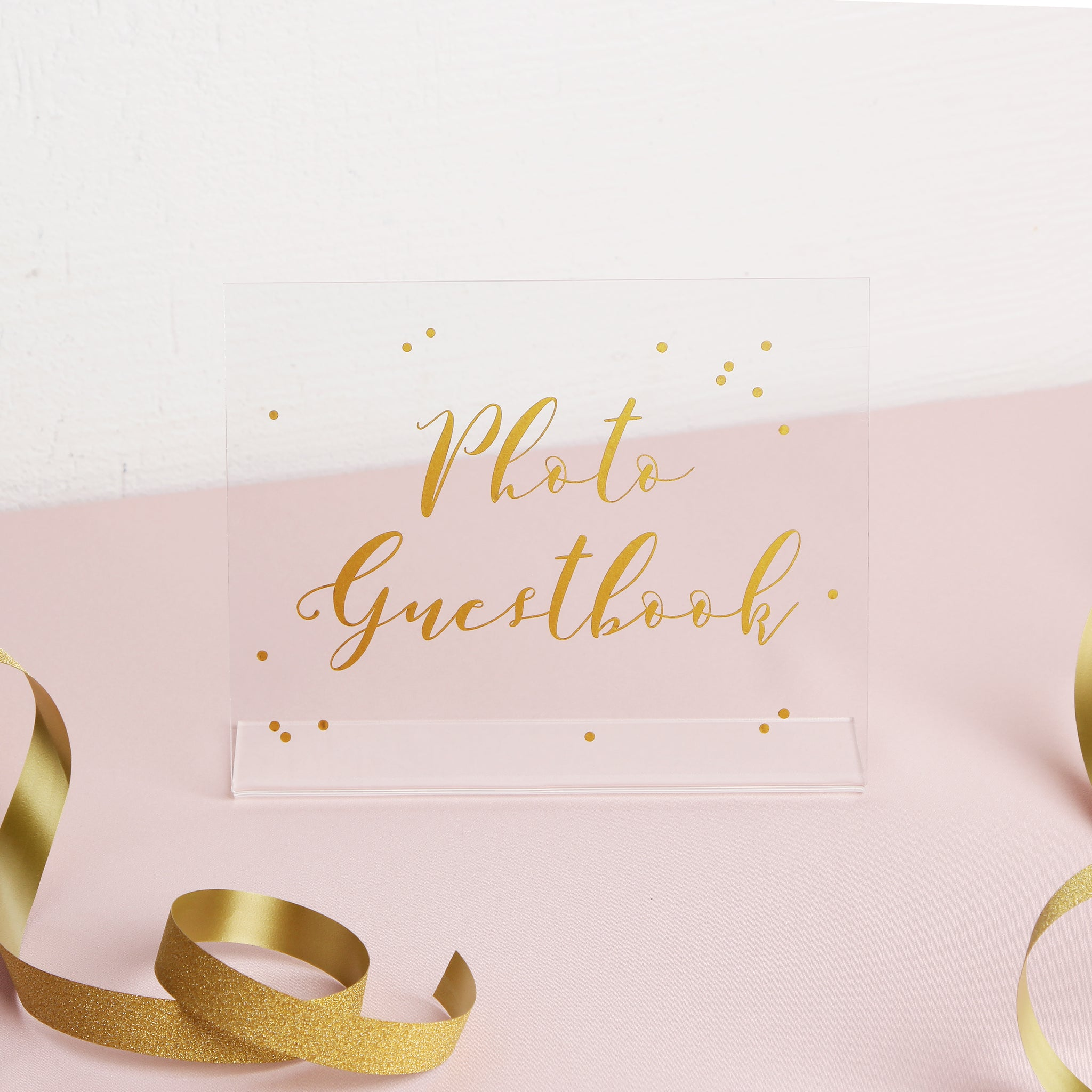 Cursative Gold Foil Sign - Acrylic Wedding Sign - Guest book Glass Sign - Transperant Photo Guestbook Sign