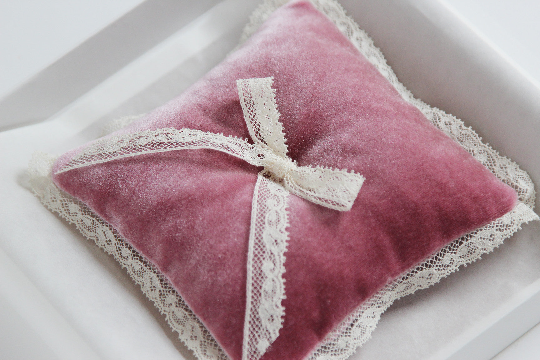Wedding Ring Pillow Velvet Pink Decorated with Lace Bow