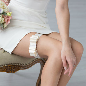 Wedding White Band Garter Ribbon by Liumy - Liumy