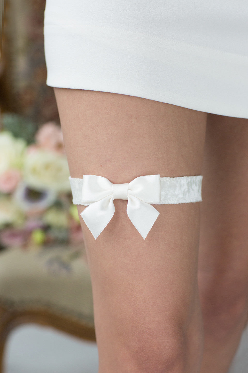 Wedding White Garter White Velour Ribbon by Liumy - Liumy