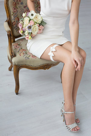 Wedding Garter Ivory Velour with Ribbon by Liumy - Liumy