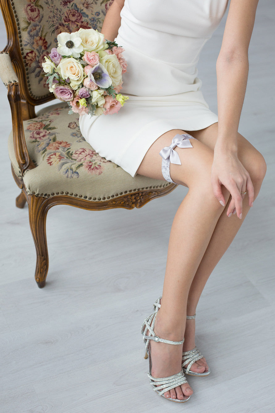 Wedding Bridal Garter Gray Velour Ribbon by Liumy - Liumy