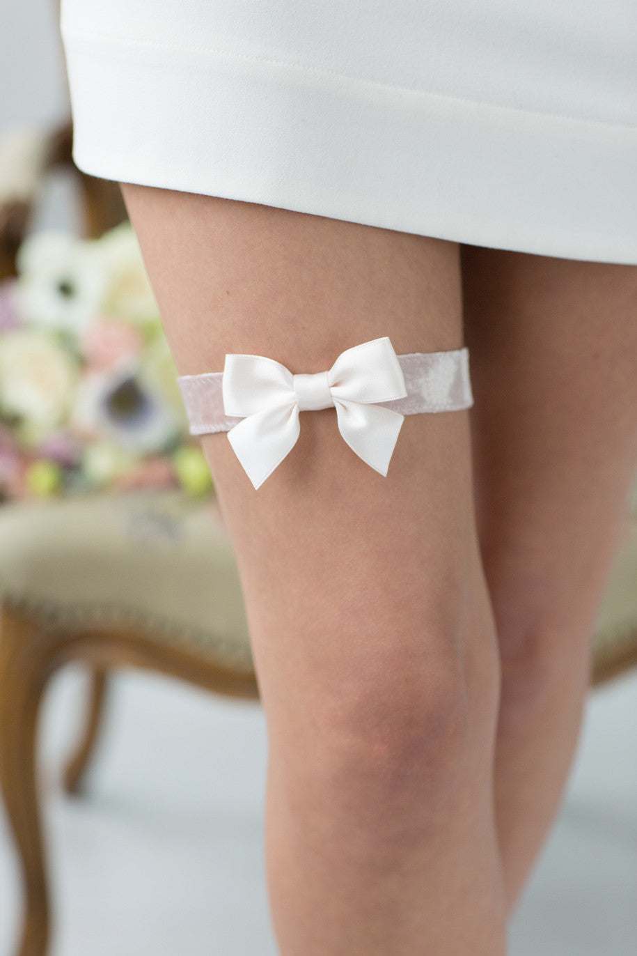 Wedding Bridal Garter Rose Velour Ribbon by Liumy - Liumy