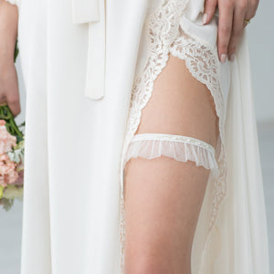 Bridal Garter White Tule Embroidery by Liumy Design Atelje - Liumy