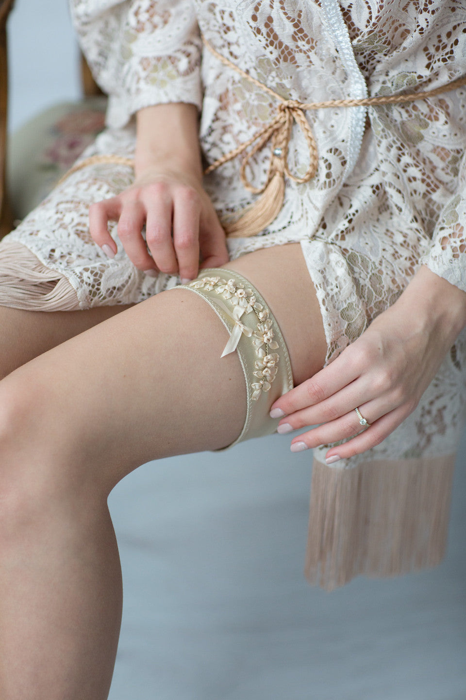 Wedding Bridal Garter Gold Embroidery Flowers by Liumy - Liumy