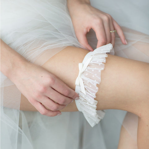 Wedding Bridal Garter Polka Dot by Liumy