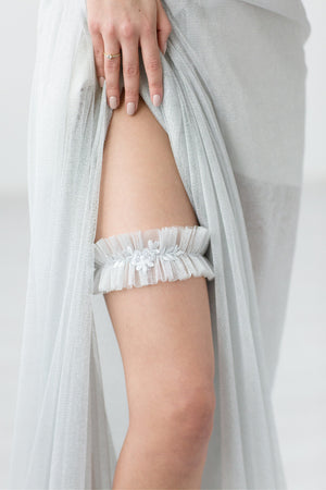 Wedding Bridal Garter Silver Tule Lace by Liumy - Liumy