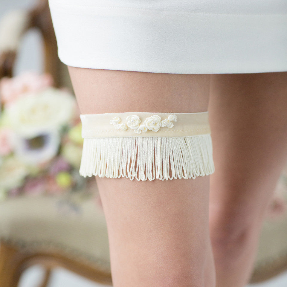 Bridal Garter Ivory Stripes Flower Embroidery by Liumy Design Atelje - Liumy