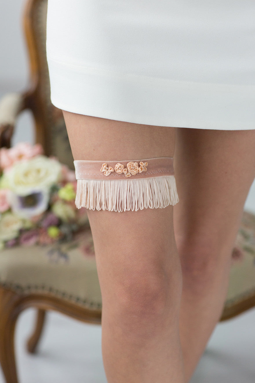Wedding Bridal Garter Rose Stripes Flower Embroidery by Liumy Design Atelje