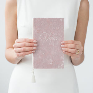Dusty Rose Wedding Vow Books Velour Keepsake Calligraphy Her Vows Bride and Groom Ceremony - Liumy