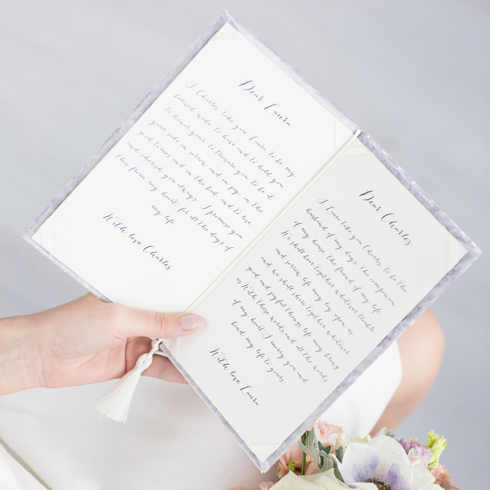 Gray Wedding Vow Books Velour Keepsake Calligraphy Her Vows Bride and Groom Ceremony - Liumy
