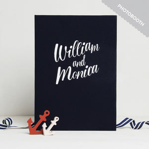 Wedding Guest Book Album Navy Blue with White Lettering - Liumy