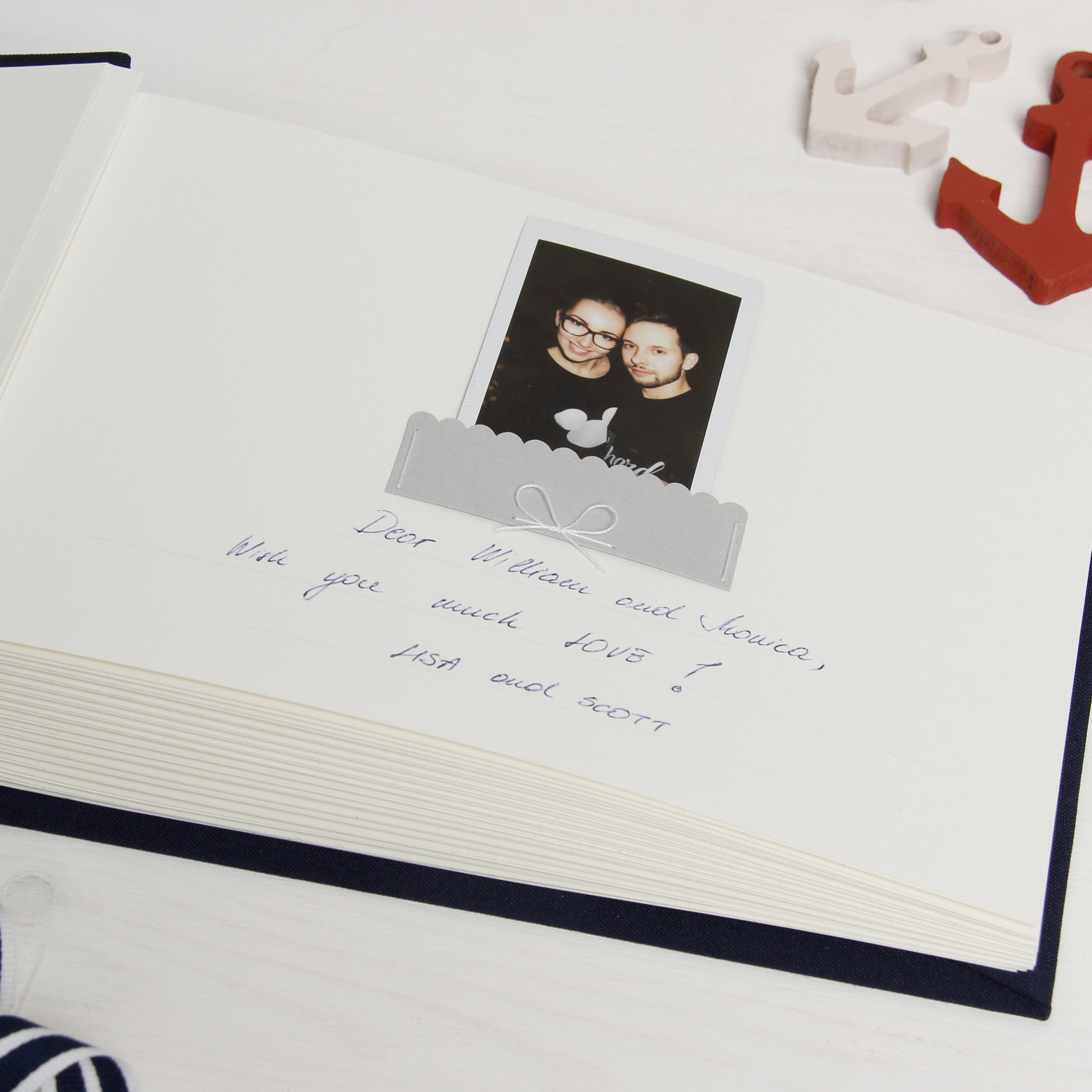 Instax Nautical Wedding Guest Sign In Book Album With White Lettering